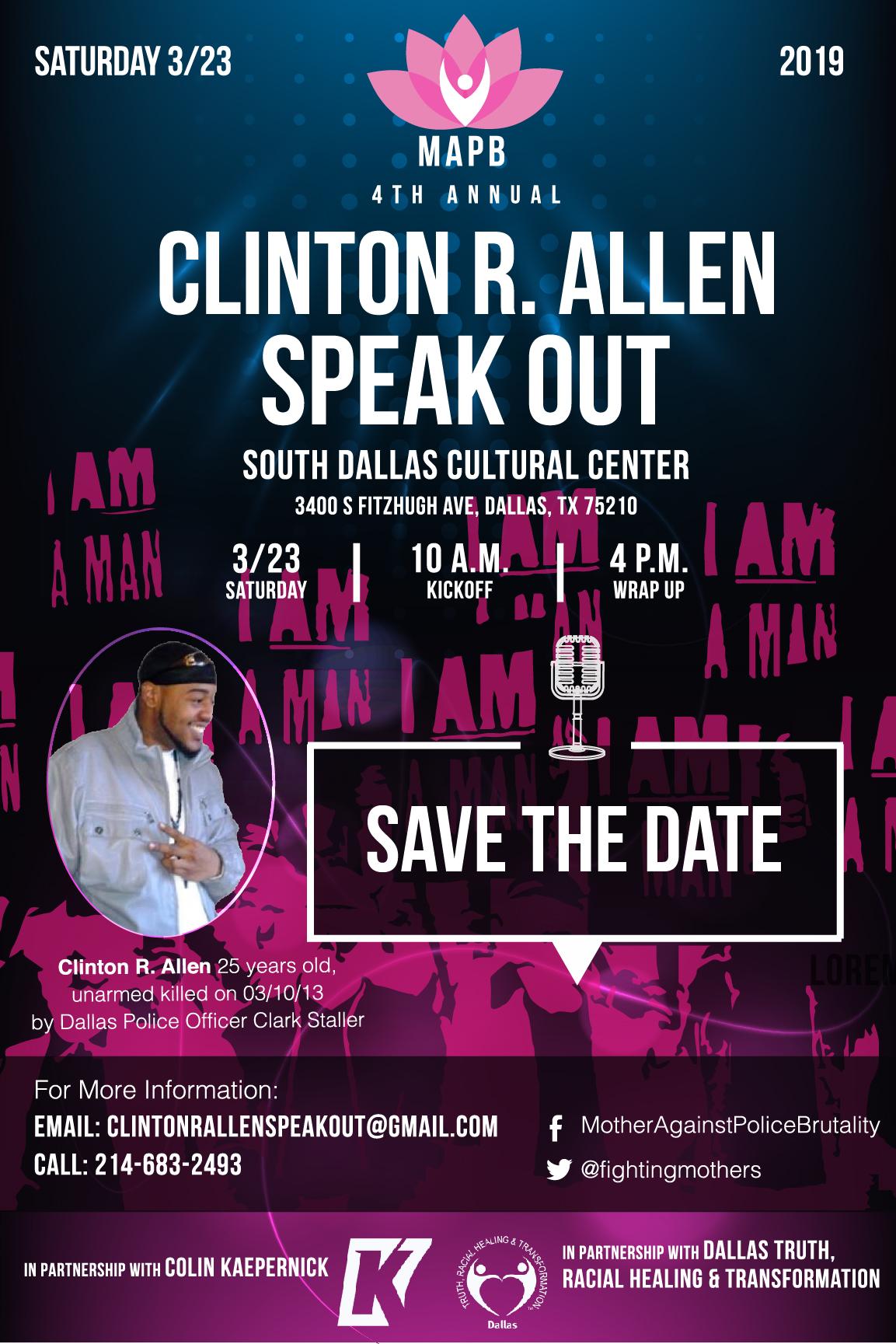 Attend the 4th Annual Clinton R. Allen Speak Out! March 23, 2019- Dallas Texas!
