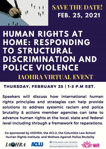 Human Rights at Home: Responding to Structural Discrimination and Police Violence Virtual Event